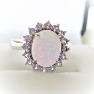 Lab Created Oval Opal with Halo of Pink Sapphires